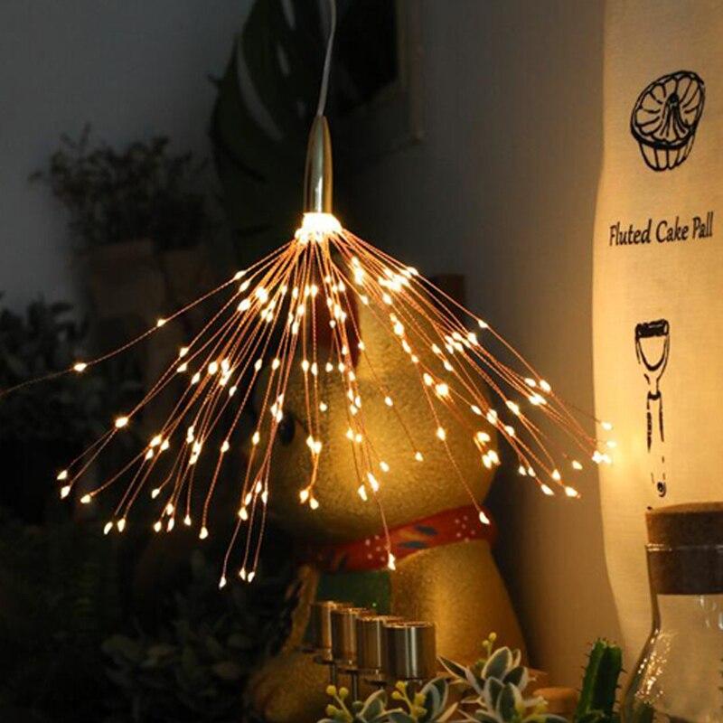 200 led solar luz jardim ao ar livre luzes de fadas fogos de artificio pendurado starburst