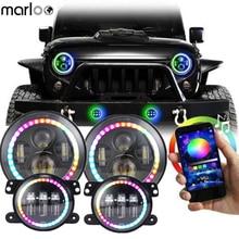 """Marloo seti RGB 7 """"Halo LED far + 4 inç ön tampon sis farları lambası Jeep Wrangler JK için 2 kapı 4 kapı 2007 2017"""