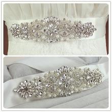 Real Satin Wedding Belt Crystal Long Bridal Belts with Crystals Wholesale Sash Pearls SPN006