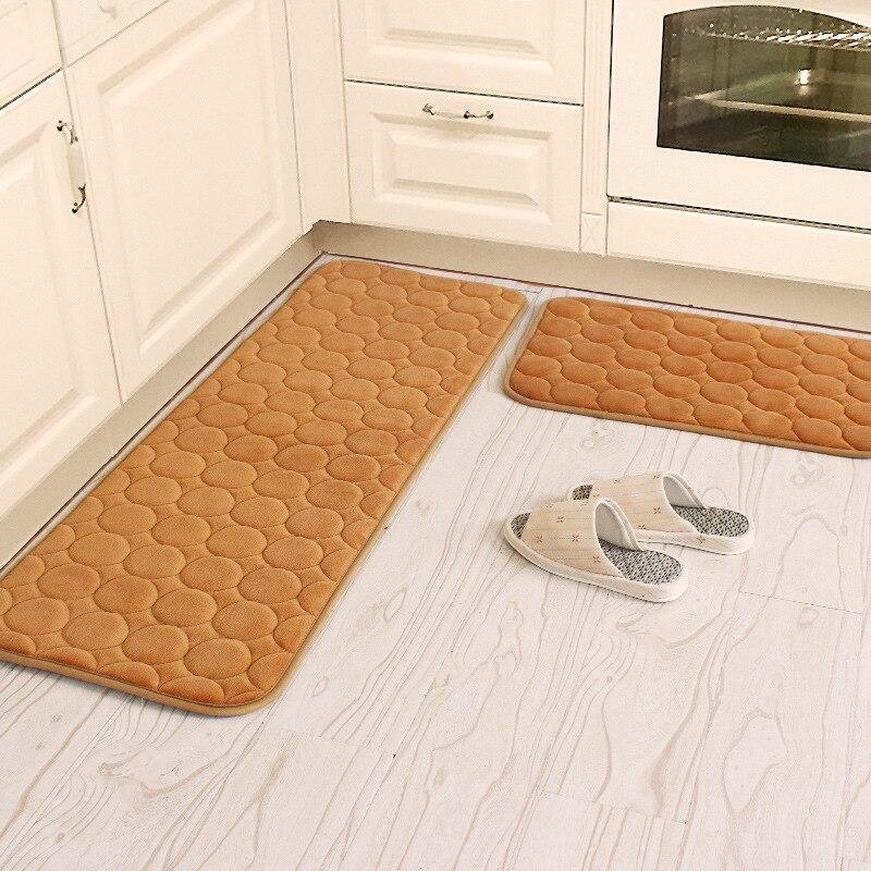 Coral Velvet Kitchen Mat Anti-Slip Bathroom Carpet Absorb Water Kitchen Rug Home Entrance Doormat Bedroom Memory Foam Area Rug