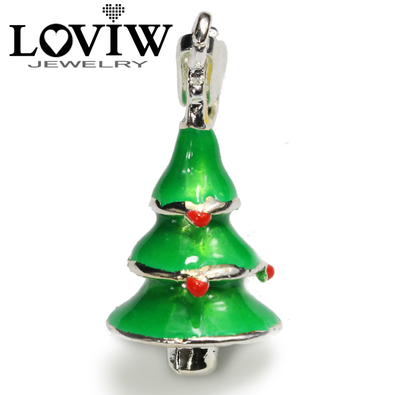 Colourful Christmas Tree charm Pendant vintage 925 Silver charms Fashion Jewellery Gift For children Thomas Jewelry Making DIY
