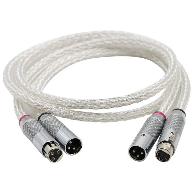 Câble Audio haut de gamme 8AG plaqué argent OCC 16 brins avec Fiber de carbone câble équilibré XLR 3 broches