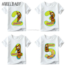 Boys and Girls Cartoon Scooby Doo Number 1~9th Print T shirt Baby Funny Cute T-shirt,Kids Birthday Present Clothes,ooo2427