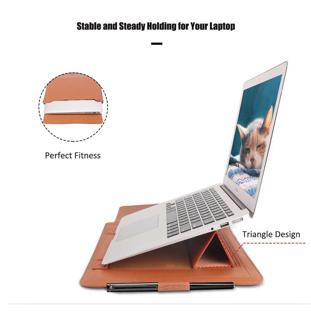 PU Kulit Laptop Case untuk MACBOOK AIR 13 2018 laptop Sleeve dengan Pemegang 11 12 13 15 Inch Notebook Tas untuk MacBook Pro 13 15