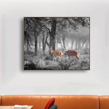 Gray Forest Leaves Elks Animals Wall Art Canvas Painting Calligraphy Poster Print Decorative Picture for Living Room Home Decor