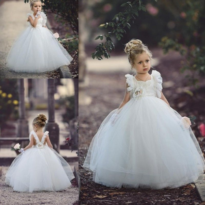 New Flower Girl Dresses White Ivory Party Ball Gowns Sleeveless Bridesmaid Gowns new white ivory nice spaghetti straps sequined knee length a line flower girl dress beautiful square collar birthday party gowns