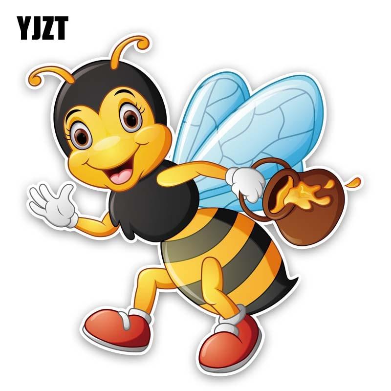 YJZT 15.1CM*15.4CM Bees Carry Honey PVC Decal Car Sticker 12-300886