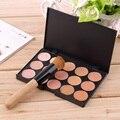 2016 Fashion15-Colors Face Makeup Concealer Palette + Wood Handle Flat Angled Brush Make up Set KitHot Selling
