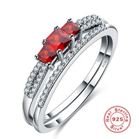 925 Sterling Silver Red Simulated Diamond Engagement Rings For Women Eternity Love Wedding Bands Ring Sets