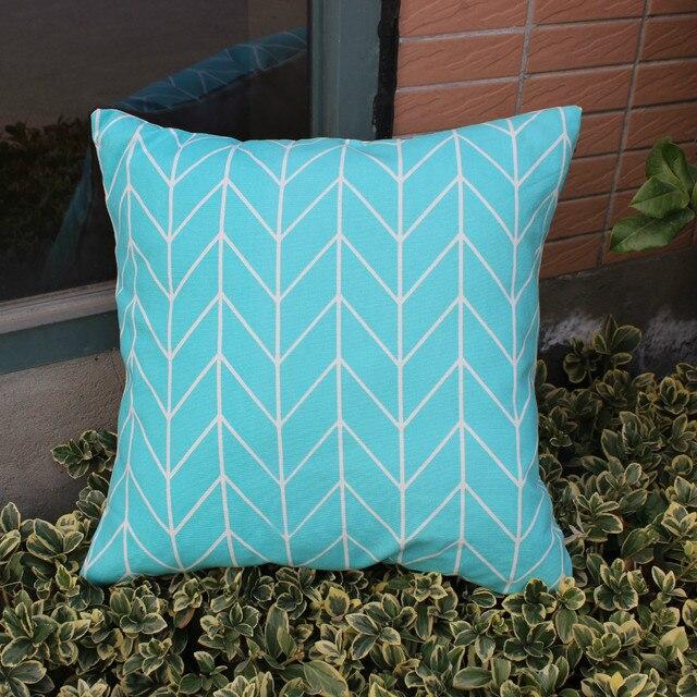 VEZO HOME Light Blue Print Geometric Chevron Cotton Sofa Cushions Throw  Pillows Pillowcase Chair Seat Home