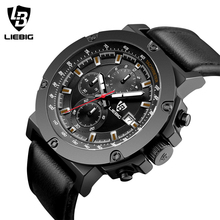 2017 New LIEBIG Casual Fashion Quartz Watch Men Military Watches Sport Waterproof Leather Wristwatch