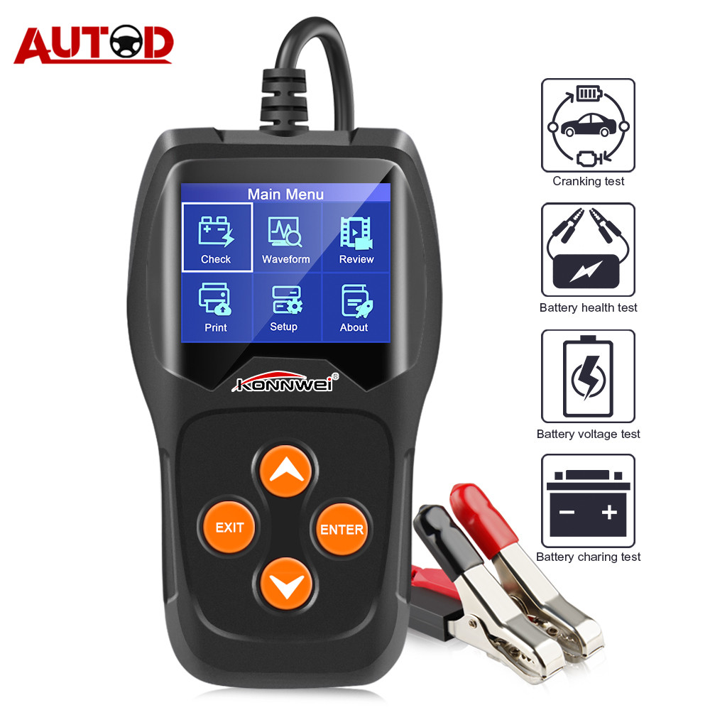 12V Car Battery Tester KONNWEI KW600 Auto Battery Analyzer 100 To 2000CCA Cranking Charging Car Diagnostic