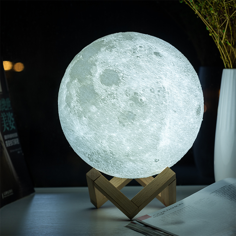3D Print Moon Lamp for Creative Home Decor with Changing Color 4