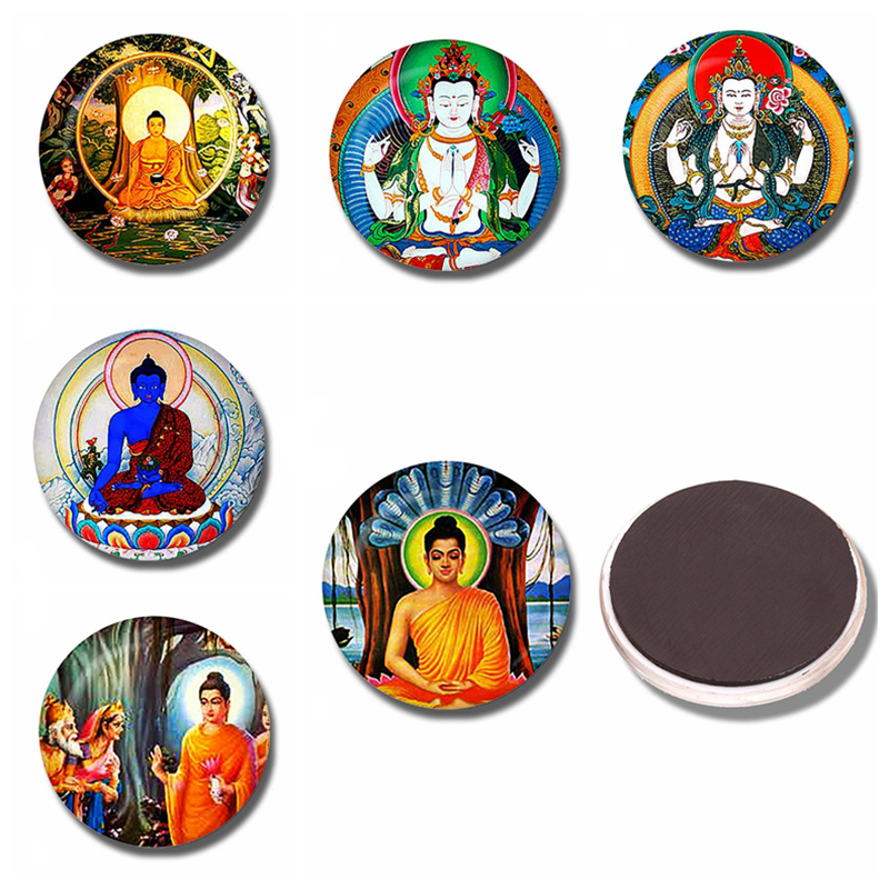 1pc Buddha 30MM Fridge Magnet Buddhism Hinduism Glass Cabochon Magnetic Refrigerator Stickers Note Holder Home Decoration