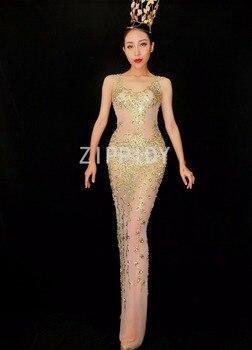 Fashion New Design Gold Rhinestones Mesh Dress Female Singer Birthday Mesh See Through Costume Wear