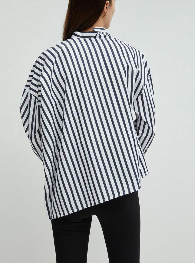 Noma Striped Shirt Skew Collar Drop Shoulder Asymmetric Shirts Blouse Top For woman 2019ss new-in Blouses & Shirts from Women's Clothing    3