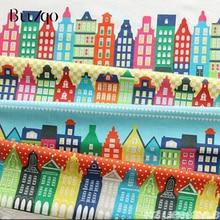 Buulqo serie pequeña casa Vintage pintura mosaico algodón Lino tela costura Textiles manual