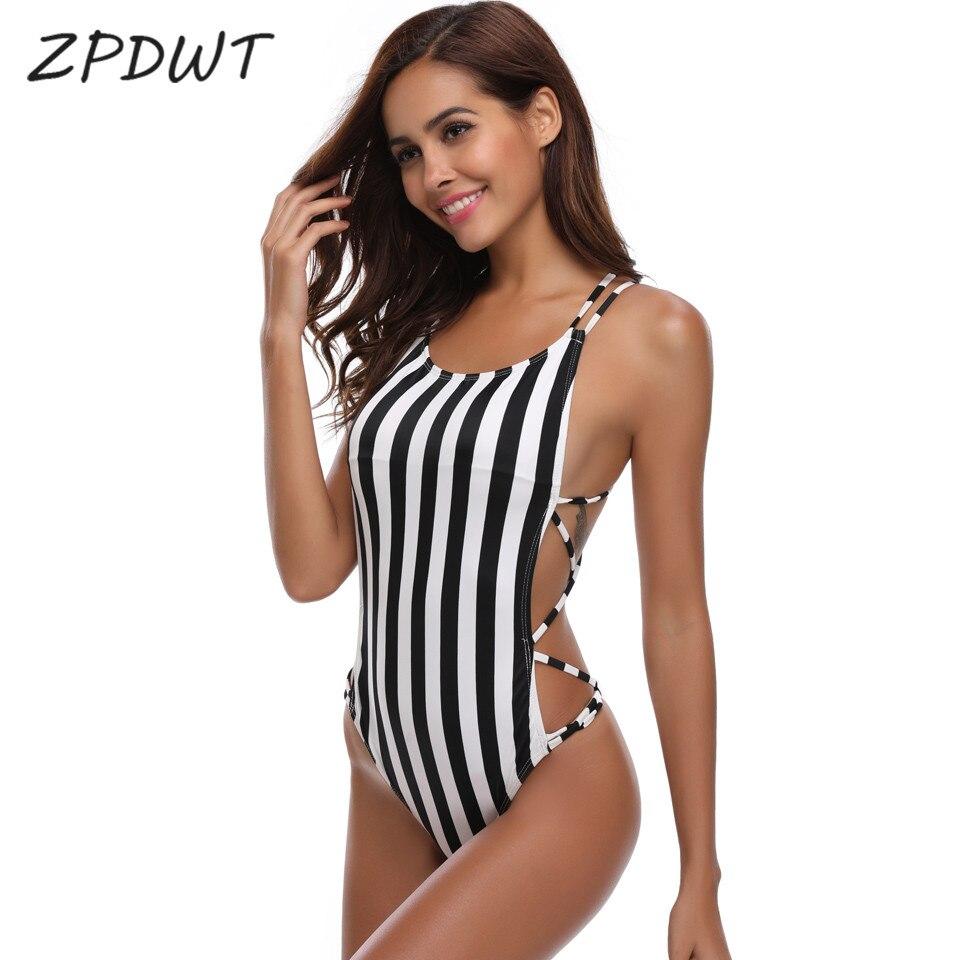 Buy ZPDWT Sexy Thong Swim Bathing Suit Striped Monokini One Piece Swimsuit Summer Bodysuit Swimwear Women Bandage Swim Beach Wear