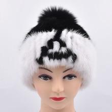 Genuine Mink Fur Hats female woman Cap Nature Women women's Winter alphabet Headgear girls for skullies beanies Fox hair ball