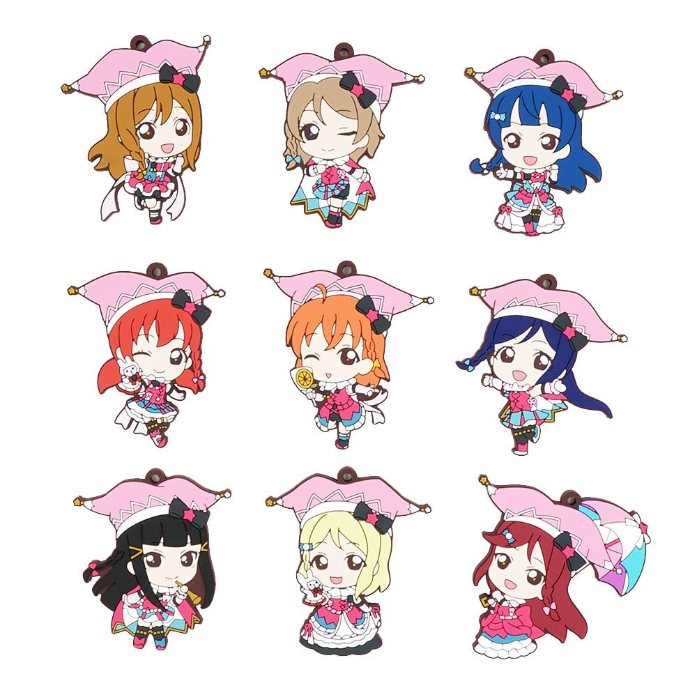 Love Live Lovelive Sunshine Aqours Circus Anime Yoshiko Chika Hanamaru Ruby You Dia Riko Kanan Mari Rubber Keychain