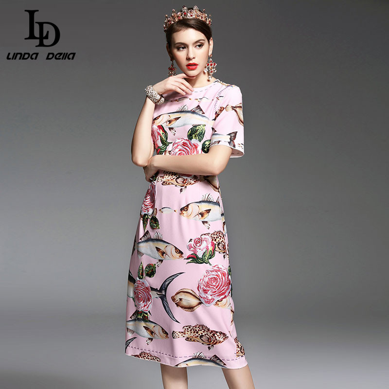 High Quality New Spring Summer Designer Runway Dress Women elegant Mid Calf Length Floral Embroidery Printed Pink Dress