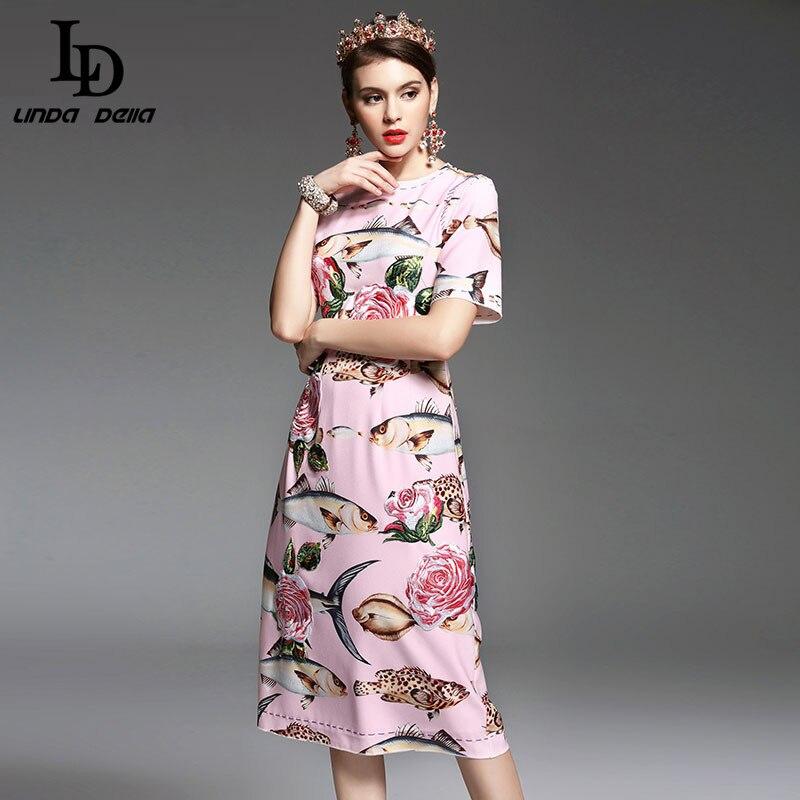 Hoge Kwaliteit Nieuwe Lente Zomer Designer Runway Vrouwen Jurk elegante Mid Calf Lengte Bloemen Borduren Gedrukt Roze Jurk-in Jurken van Dames Kleding op  Groep 2