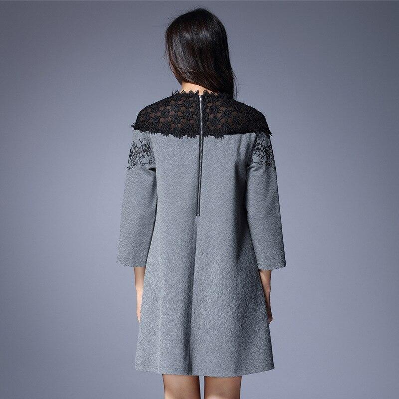 2019 automne robe de grande taille femmes mode dentelle broderie Patchwork L-5XL en vrac une pièce robes femme de haute qualité - 3