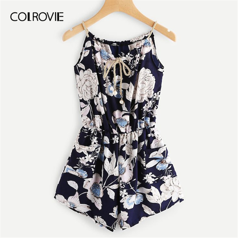 COLROVIE Plus Size Floral Print Knot Front Boho Sexy Cami Playsuits Women 2019 Summer Holiday Sleeveless Vacation Short   Jumpsuit