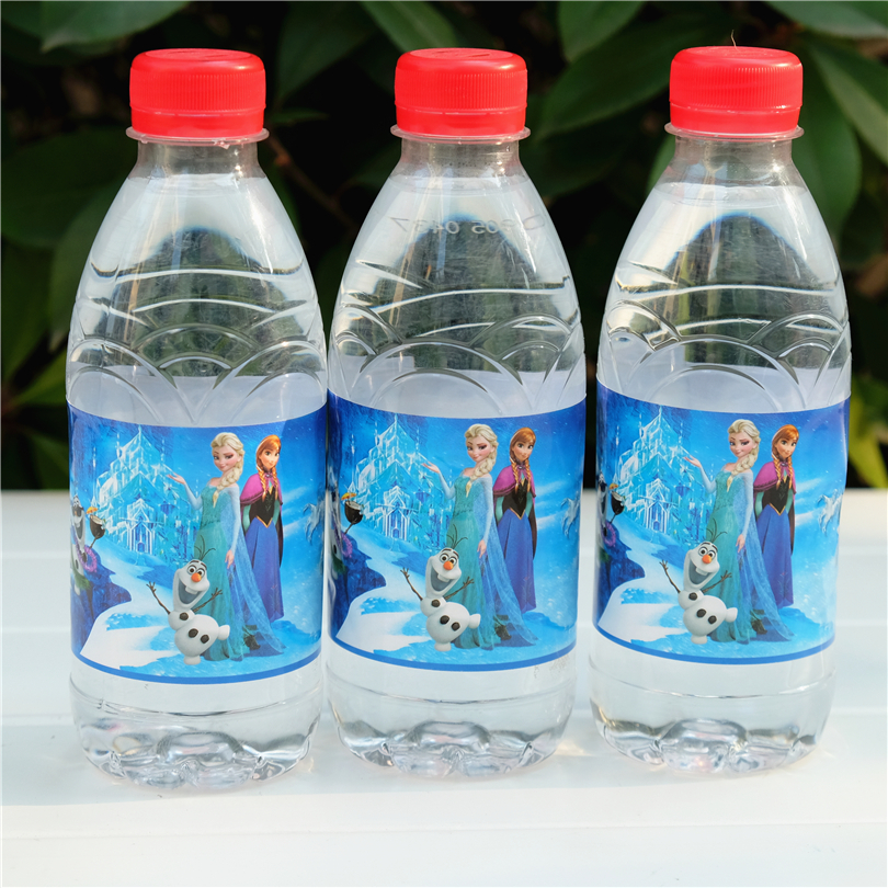 12pcs Princess Anna Elsa Water Bottle Label Candy Bar Kids Birthday Party Supplies Baby Shower Party Favor