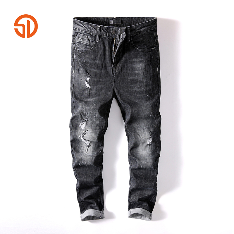 Good Quality Streetwear Denim Long Pants Men Clothes 2018 Fashion Black Jeans Men Casual Cotton Skinny Jeans Homme Size 28-36