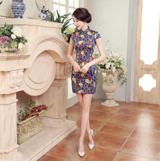 Summer Women's Classic Short Sleeve Flower Dress Chinese Style Female Satin Qipao Sexy Short Cheongsam Size S M L XL XXL LGD16