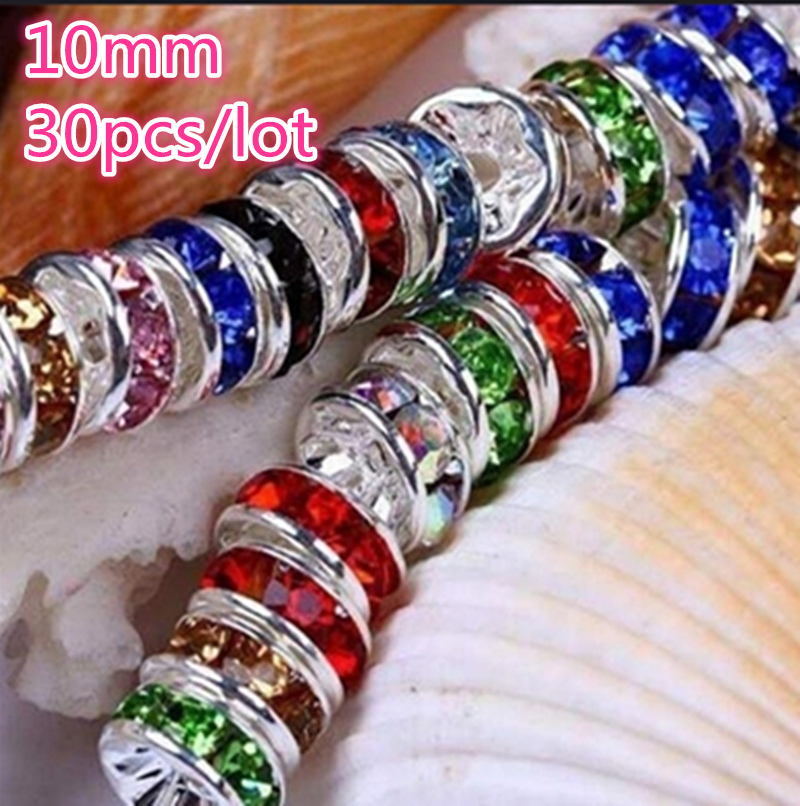 NEW 30pcs 10mm Czech Crystai Rhinestone Glass Round Loose Spacer Beads For Jewelry Making DIY Bracelet Necklace