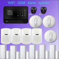 Multilingual Wifi Alarm GSM GPRS Home Security Alarm System Android IOS APP Control With Smoke Detector