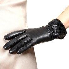 Женские брендовые перчатки из натуральной кожи модные перчатки из овчины зимние Бархатные элегантные женские перчатки для вождения L151NC-5
