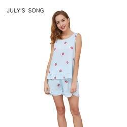JULY'S песня топ с принтом и шнурок талии шорты для женщин пижамный комплект для без рукавов шнурок опрятный ночное 2019 повседневное