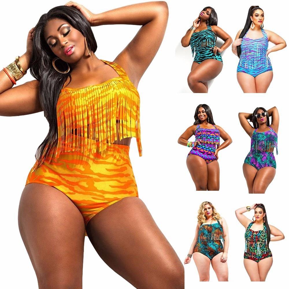 fbecad2e74 Sexy Women Plus Size Fringe Tassels Swimwear Colorful High Waist Braided  Fringe Top Swimsuit Padded Push