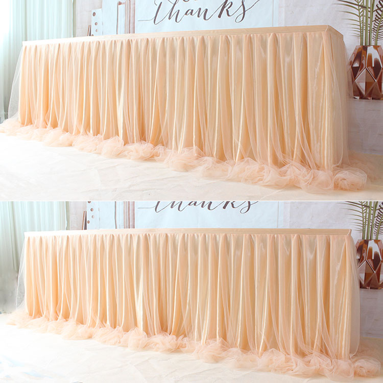 1pc 2 Layers Table Skirt Cover Tutu Tulle Table Skirt Birthday Wedding Christmas Festive Party Decor Table Cloth Tableware