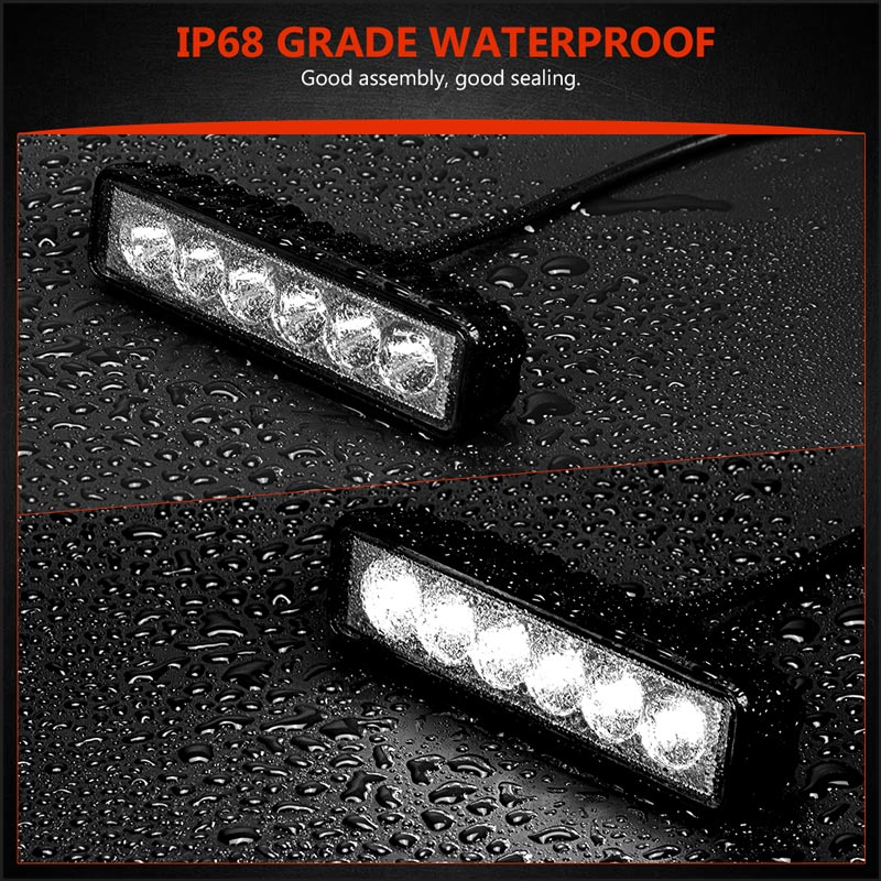 Image 5 - 6 inch 18W Offroad DRL LED Work Light Flood Beam Spotlight 12V 24V Daytime Running Light For Jeep 4x4 ATV 4WD SUV Car Styling-in Car Light Assembly from Automobiles & Motorcycles