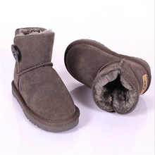2017 Winter Children Shoes Real Leather Classic Warm Ankle Boots Bottes Enfant Fille Girls Boys Kids Flat Fur Snow Toddler Boots