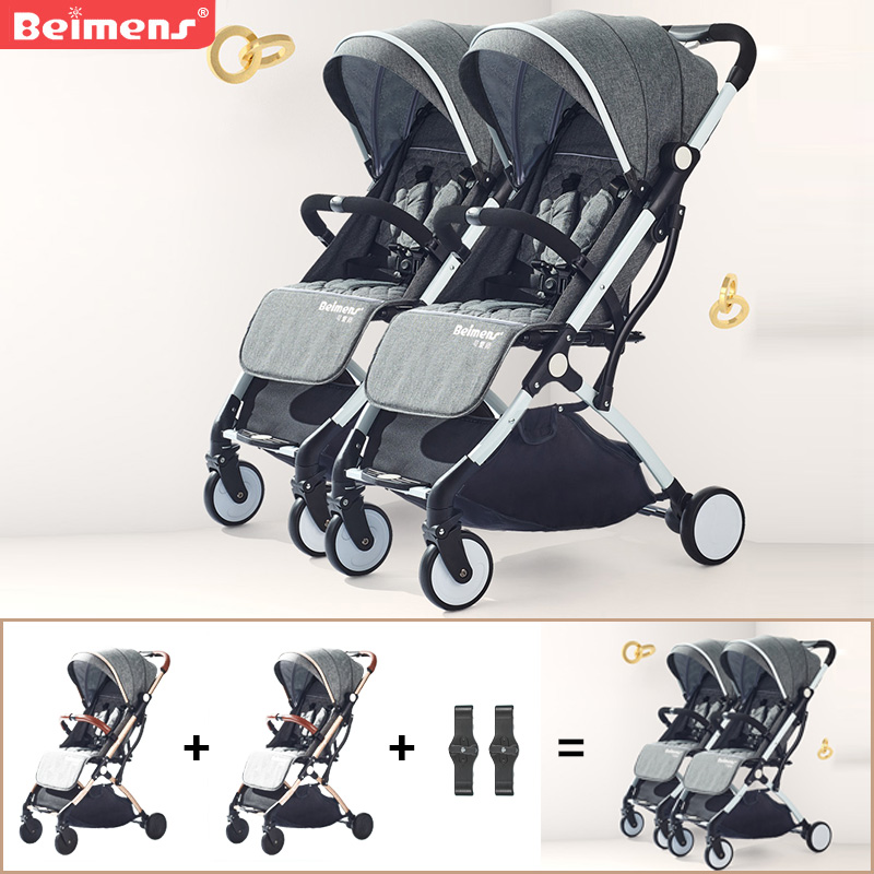 2019 gemelli del bambino passeggino ultra-light ombrello pieghevole passeggino viaggio passeggini doppi di marca può essere sul piano auto