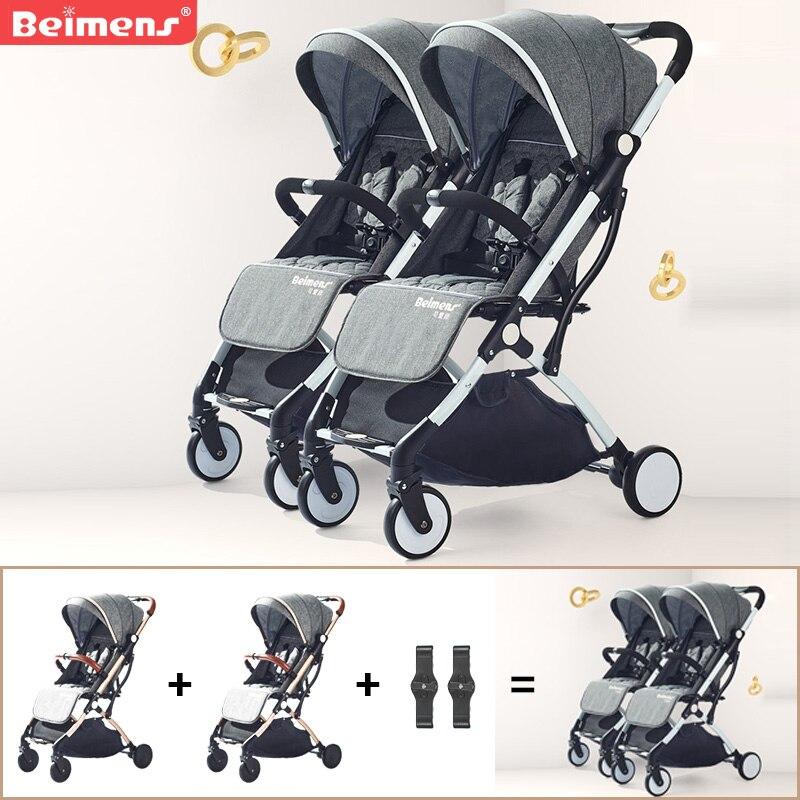 2019 gemelos cochecito de bebé paraguas plegable ultraligero cochecito de viaje doble ruedas marca puede estar en el coche de avión