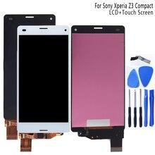 Para Sony Xperia Z3 Compact D5803 D5833 LCD Monitor digitalizador Panel de cristal Z3 Mini componentes con marco accesorios para teléfono + herramienta