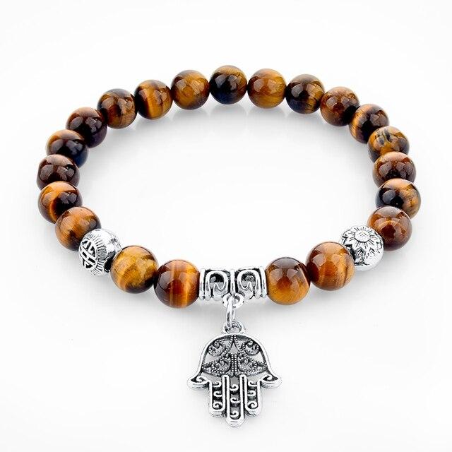 Женский и мужской браслет с тигром Фатимой сглаза буддой черепом