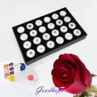 Gemstone Storage Organizer Black Wooden Tray 24 White Gem Jar Removable Clear Plastic Round Insert Diamond Pearl Jewelry Display