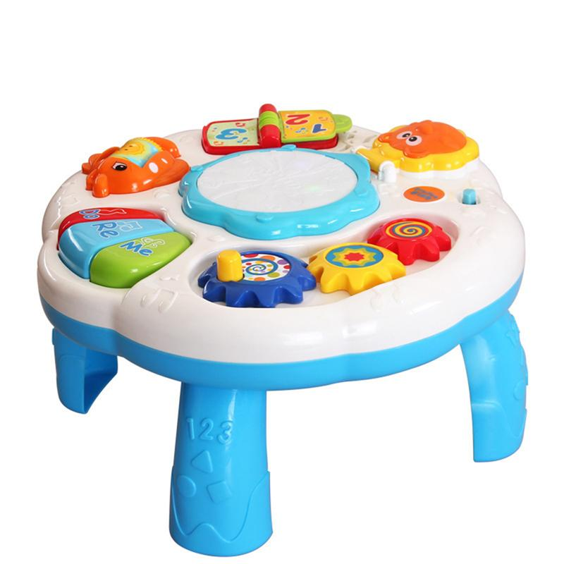 Kids Musical Table Pre Kindergarten Early Educational Toy Development Activity Centers Music Learing Table for Baby Toddlers activity table red