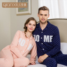 Qianxiu Cardigan Pajama Sets For Men Woman Knitted underwear men European Home Couple Plus size suit 1672