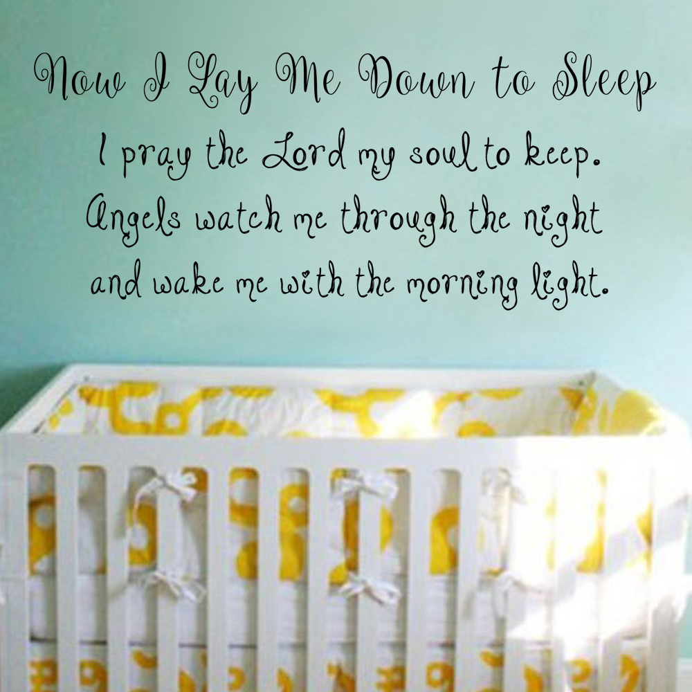 Now I Lay Me Down To Sleep Baby Nursery Wall Decal Kids Vinyl Wall Quote  Saying Prayer Girl Or Boy 23cm X 56cm In Wall Stickers From Home U0026 Garden  On ...