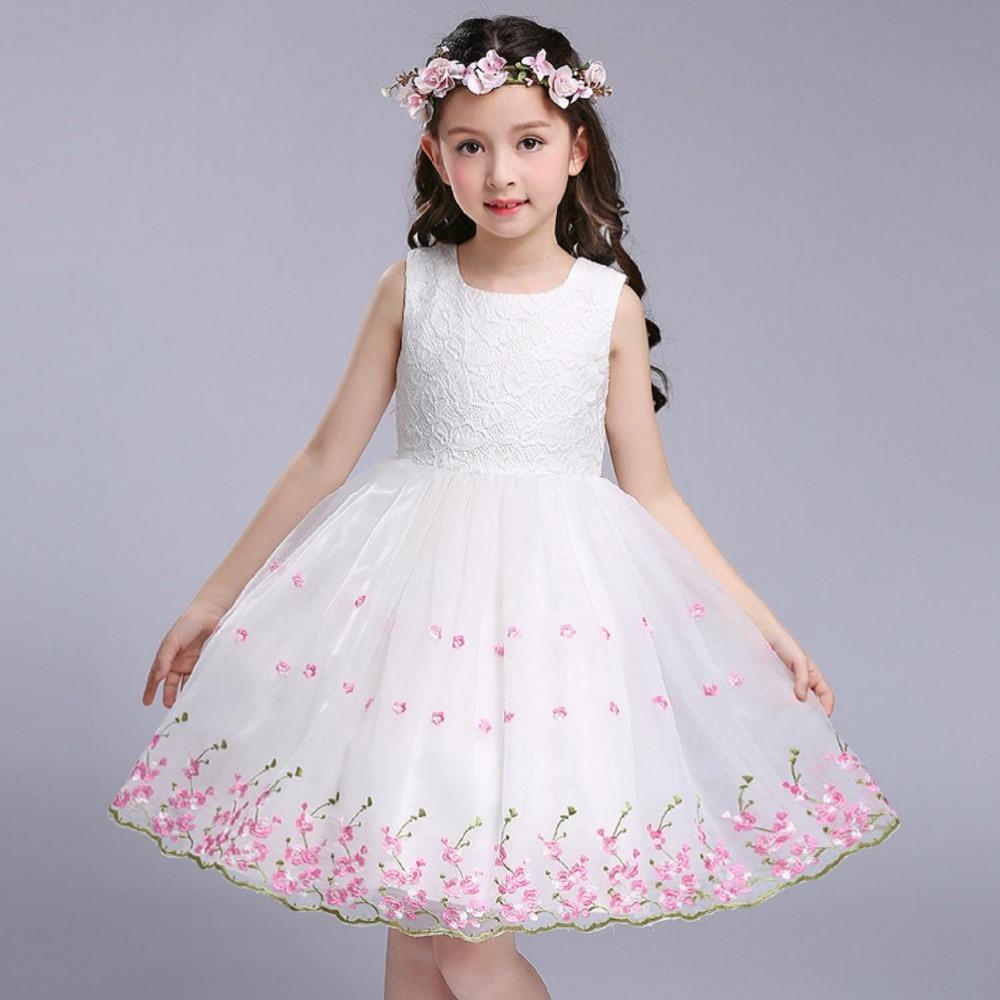 Chenlvxie Sweet Summer Diamond Flower Girl Dress White Pink Tutu
