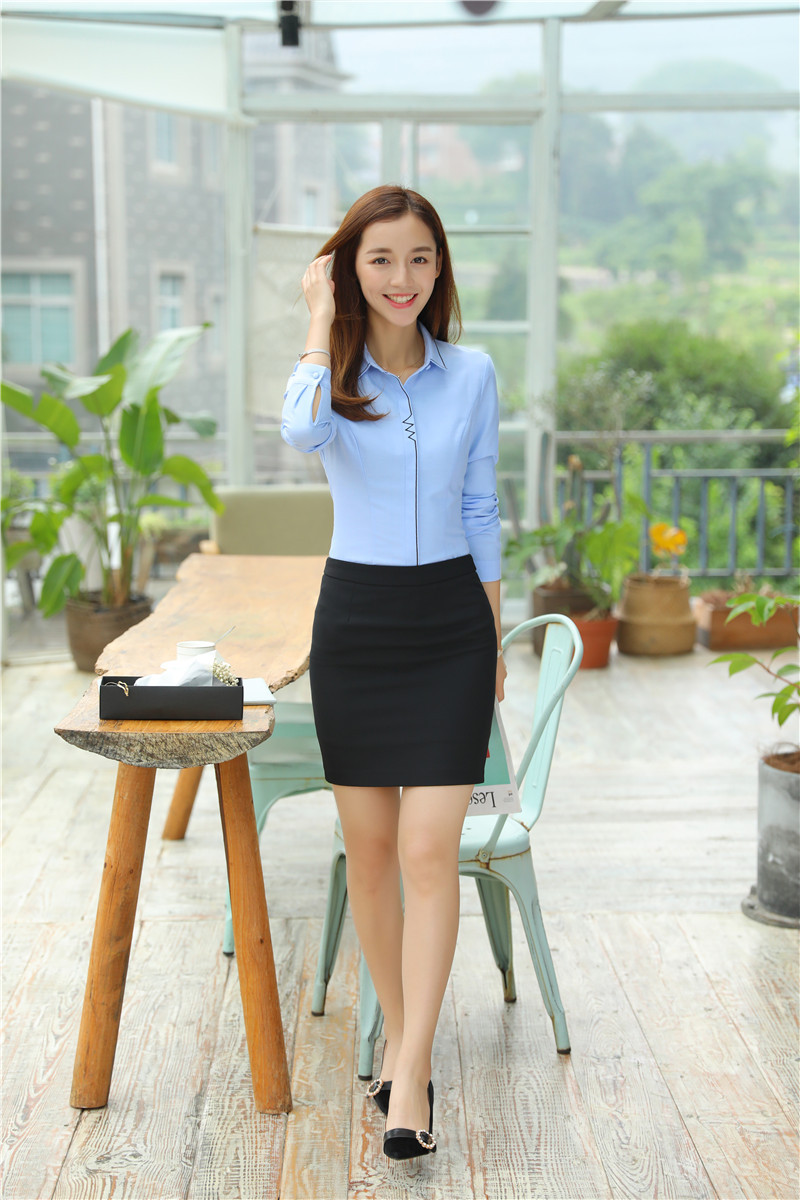 2019 sets women work wear suits with skirt and blouses sets sky blue