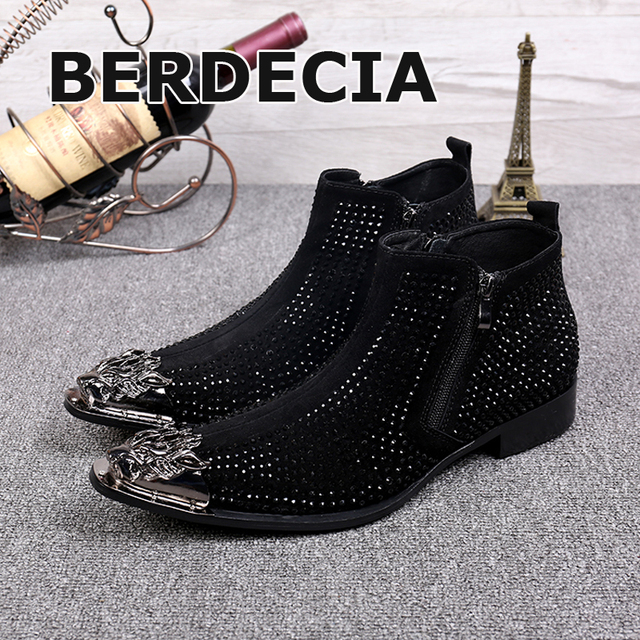 LTTL Fashion Metal Toe Men Rhinestone Shoes Men Ankle Boots Pointed Toe  Genuine Leather Men Boots Red Black Plus Size 46 f510d00a9353